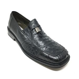 Mezlan Loafers Shoes Size 10.5 Black Full Ostrich